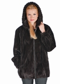 Dark Brown Sheared Mink Jacket-Detachable Hood