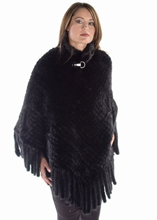 Knitted Mink-Black Poncho Cape