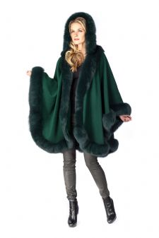 Forest Green Cashmere Cape - Detachable Hood