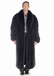 Mens Fur Coat - Black Fox