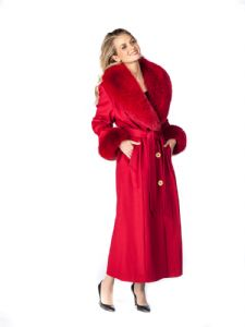 Cashmere Coat-Red Fox Trim- Red Cashmere