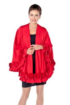 Red Cashmere Swing Cape- Rex Rosettes Plus Size