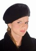 Ranch Mink Fur Hat-Small Black Mink Beret