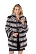 Chinchilla Rex Fur Jacket- Wing Collar Plus Size