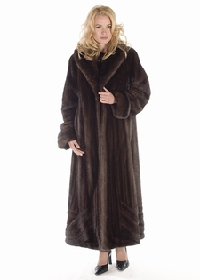 Mahogany Mink Coat - Wave Design