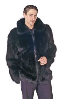 Mens Fox Jacket - Sculptured Black Fox