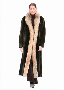 Ranch Mink Fur Coat - Crystal Fox Trimmed