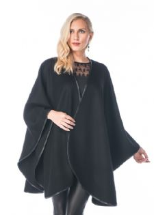 Cashmere Cape - Black - Leather Trimmed