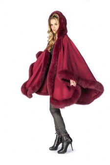 Hooded Cashmere Cape Fox Trim - Burgundy Wine