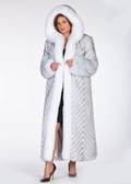 Hooded Fox Coat - Chevron Design