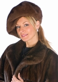 Mink Fur Hat-Soft Brown Mink Beret