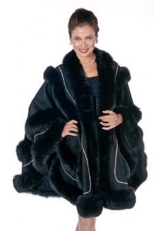Black Fox Swarovski Trim Empress Cashmere Cape