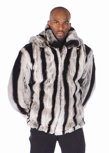 Mens Fur Rex Chinchillette© Jacket-Detachable Hood