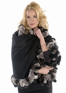 Cashmere Cape Wrap-Chinchilla Rex  Black Fox Trim