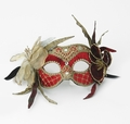Party Mask - Flowers and Lace Red Velvet