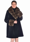 Sable Trimmed Sheared Mink Fur Jacket