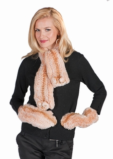 Knitted Fur Scarf and Glove Set - Apricot Beige