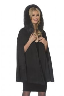 Cashmere Opera Cape- Black Fox Trim - 35
