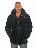 Mens Sheared Beaver Zippered Bomber Jacket -Black