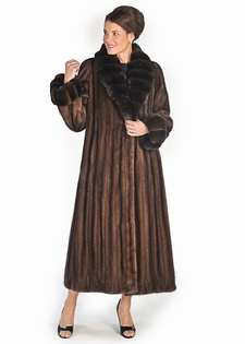 Chinchilla Shawl Collar Cuffs-Soft Brown Mink Coat