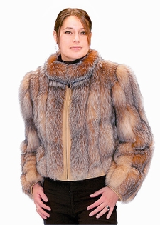 Crystal Fox Zippered Jacket - Fox Fur Jacket