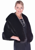 Mink Cape - Black Mink Black Fox Trim