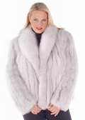 Natural Blue Fox Fur Jacket Plus Size - 25