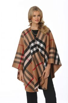 Plaid Cashmere Cape-Taupe Tartan Check Reversible