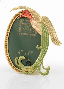 Jeweled Oval Picture Frame- Hummingbird