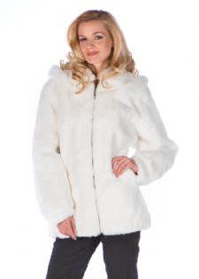 Plus Size White Fur Rabbit Parka-Detachable Hood