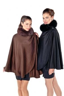 Cashmere Wrap Cloak -  Brown Fox Collar