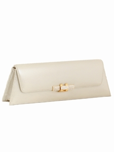 Pearlized Cream Leather Evening Bag