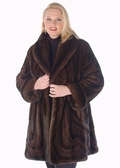 Mink Jacket - Plus Size Mahogany Wave Design