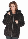Brown Sheared Mink Jacket-Detach Hood Plus Size