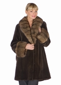 Sable Trimmed Dark Brown Sheared Mink Jacket