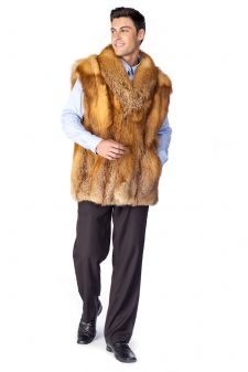 Mens Red Fox Vest- Natural Red Fox