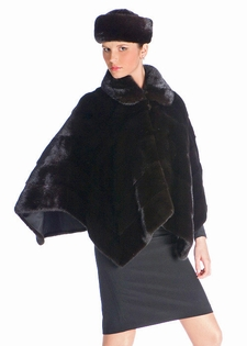 Mink Fur Poncho - Zippered Ranch Mink Cape