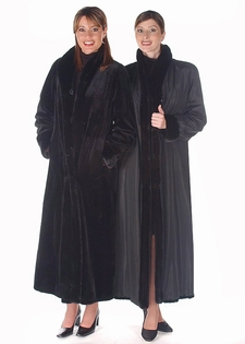 Sheared Mink Fur Coat - Reversible to Fabric