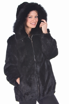 Hooded Fur Parka-Black Rabbit-Detachable Hood