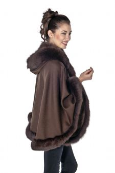 Brown Cashmere Short Hooded Cape Fox Trim