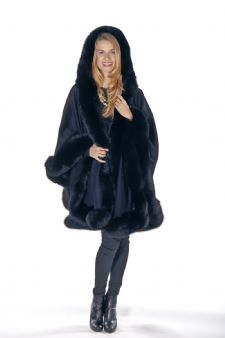 Black 100% Cashmere Cape - Detachable Hood