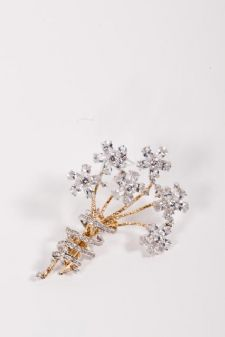 CZ Diamond Bouquet Pin - CZ Bouquet Brooch