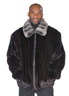 Men's Ranch Mink Jacket - Chinchilla Collar