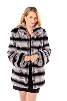 Chinchilla Rex Fur Jacket- Classic Wing Collar