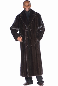 Mens Ranch Mink Coat - Double Breasted Black Mink