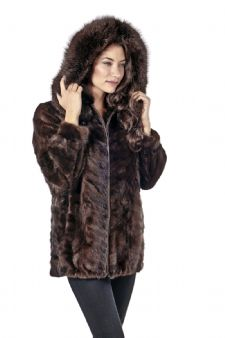 Mink Parka-Mahogany Mink Zippered Sculptured Mink
