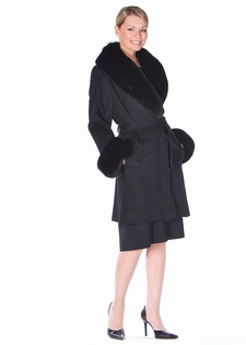 Black Cashmere Wrap Coat-Black Fox Trim-35