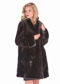 Sheared Brown Mink Jacket-Herringbone Designs