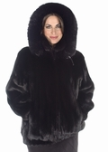 Mink Jacket - Plus Size Ranch Mink Detachable Hood