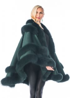 Forest Green Cashmere Cape - Empress Style